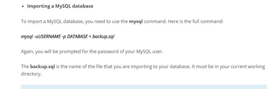 SSH komutu ile MYSQL Yükleme / import – Yedek Geri Yükleme